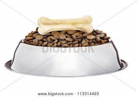 Dogs Dry Food In The Stainless Steel Bowl