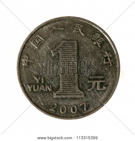 Metal Coins One Yuan China Isolated On White Background. Top View