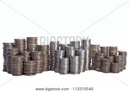 Money, stacks of coins. Quarters, Nickels and Dimes Isolated on white background