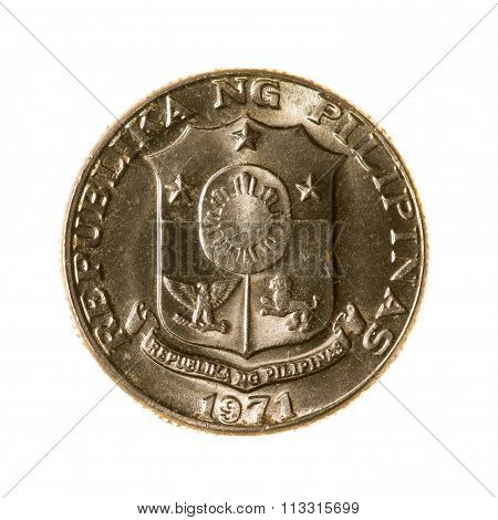 Metal Coins Twenty-five Cents Philippines Isolated On White Background. Top View