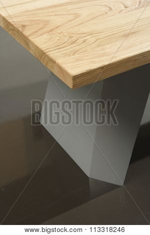 NEW FURNITURE LINE , MODERN DESIGN,  STRAIGHT LINES , MATERIALS : WOOD, METAL. TABLE CLOSEUP
