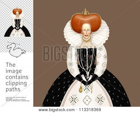 The illustration a queen. A part of Dodo collection - a set of educational cards for children. The image has clipping paths and you can cut the image from the background.