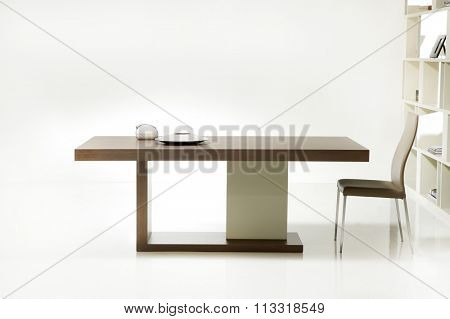 NEW FURNITURE LINE . MODERN DESIGN . STRAIGHT LINES . MATERIALS : WOOD ,  FABRIC, LEATHER .  ITEMS : TABLE WITH CHAIR SET