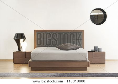 NEW FURNITURE LINE . MODERN DESIGN . STRAIGHT LINES . MATERIALS : WOOD , METAL, FABRIC . ITEMS : BED , BEDSIDE TABLES