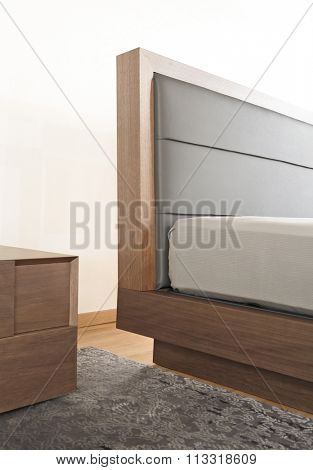 NEW FURNITURE LINE . MODERN DESIGN . STRAIGHT LINES . MATERIALS : WOOD ,  FABRIC . ITEMS : BED DETAILS
