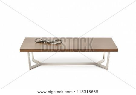 NEW FURNITURE LINE . MODERN DESIGN . STRAIGHT LINES . MATERIALS : WOOD , METAL . ITEMS : TABLE