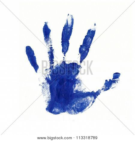 Colorful Hand Print In Blue