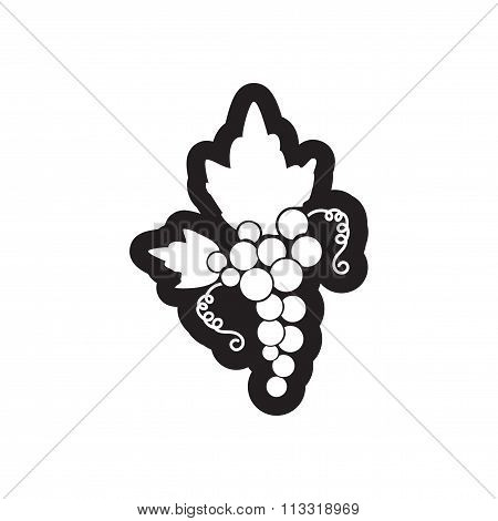 Flat icon in black and white style bunch of grapes