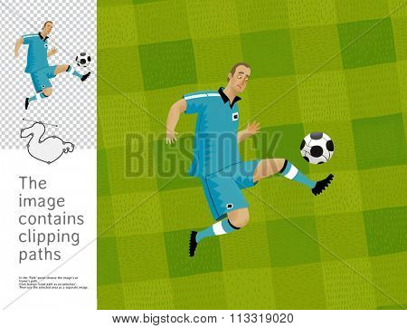 The illustration of a football player with a football. A part of Dodo collection - a set of educational cards for children. The image has clipping paths and you can cut the image from the background.