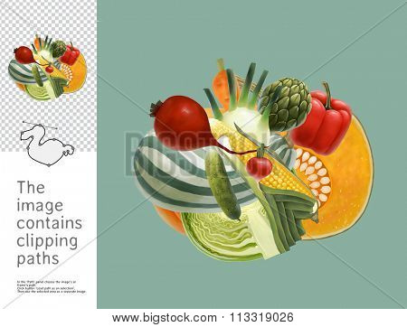 The illustration of a heap of vegetables.  A part of Dodo collection - a set of educational cards for children. The image has clipping paths and you can cut the image from the background.
