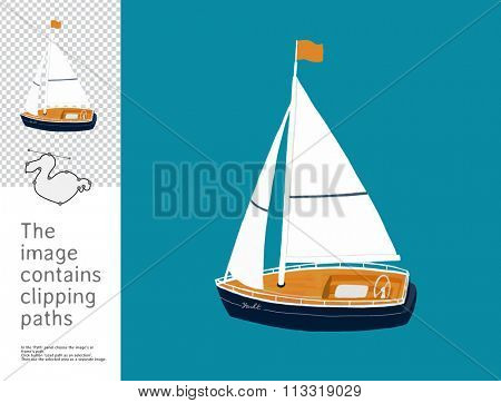 The illustration of a sailing yacht. A part of Dodo collection - a set of educational cards for children. The image has clipping paths and you can cut the image from the background.
