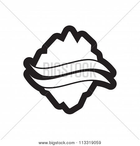 Flat icon in black and white style map Arctic