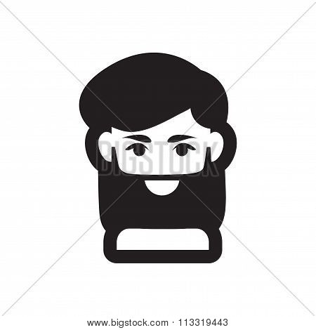 Flat icon in black and white style men's hair