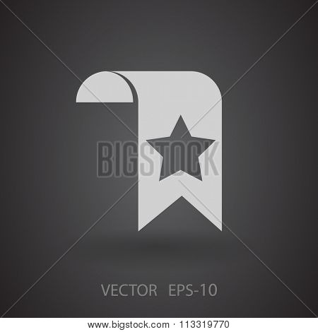 Flat long shadow Favorite bookmark icon, vector illustration