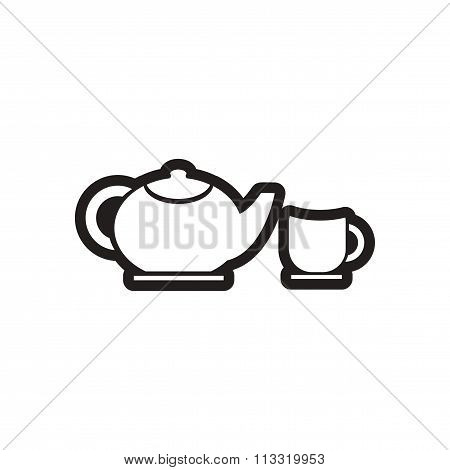 stylish black and white icon teapot and cup