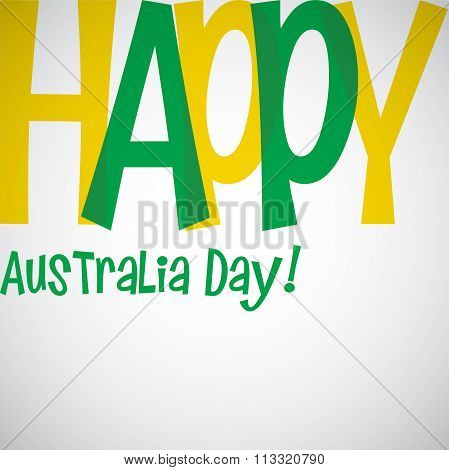 Bright Typographic Australia Day Card In Vector Format.