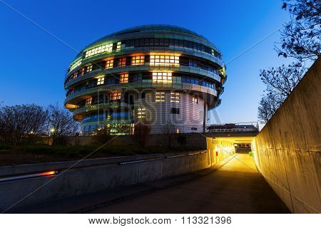 HANOVER, GERMANY - DECEMBER 04, 2015: International Neuroscience Institute. Its a neurosurgical private clinic. Noticeable is the modern architecture, showing the abstracted shape of the human brain