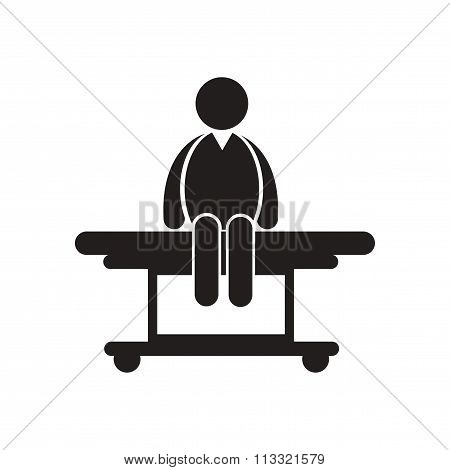 stylish black and white icon man on stretcher Medical
