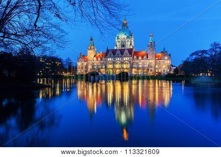 New City Hall in Hanover, Germany, at night