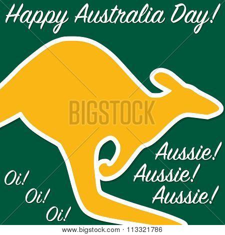 Kangaroo Australia Day Card In Vector Format.