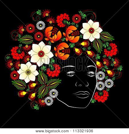 Flower. Woman Face. Vector In Ukrainian Traditional Painting