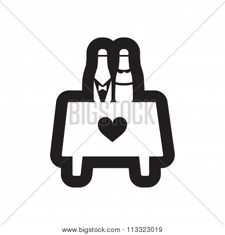 Flat icon in black and white table wine champagne