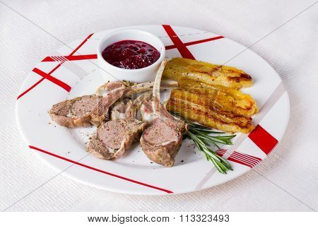 Rack Of Lamb With Cranberry Sauce And Fried Bananas
