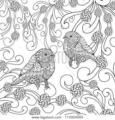 Birds coloring page