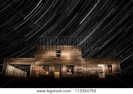 Abandoned Building And Star Trails