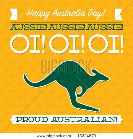 Typographic Retro Australia Day Card In Vector Format.