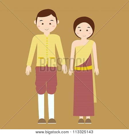 couple man woman wearing thai traditional costume clothes dress male female vector illustration