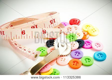 Spool Of Thread And Buttons, Sew Instrument Isolated On White Background