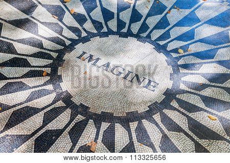 NEW YORK CITY - OCTOBER 12,2015: Imagine mosaic of the Strawberry Fields Memorial, that is dedicated to John Lennon, named after the Beatles song -Strawberry Fields Forever-