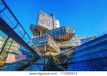 HANOVER, GERMANY - DECEMBER 03,2015: administration building and headquarter of the NordLB, that is the regional state bank of Lower Saxony. It was built 1998-2002 and designed by Behnisch and Partner