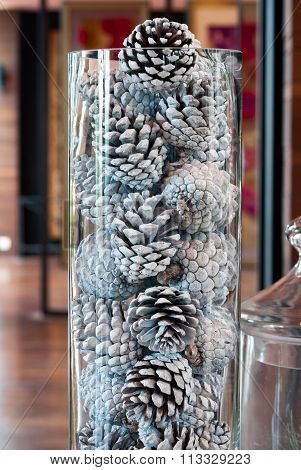 Silver Pinecone For Decorate On Christmas