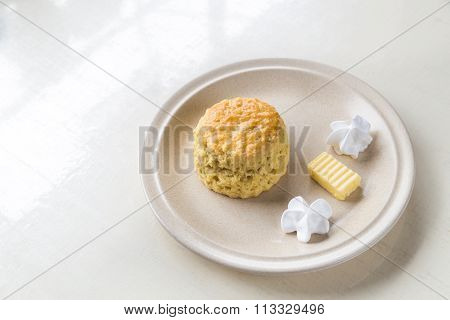 Simple And Delicious English Scones Set With Butter And Cream