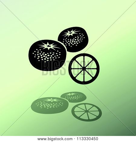 Mandarin fruits icon. Black silhouette with shadow on light green background. Flat design. Vector is
