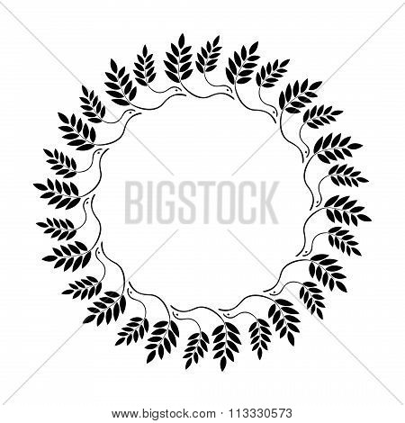 Laurel wreath circle tattoo icon. Ornament of dove view branches and leaves. Black sign on white. Vi