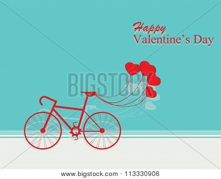 Card For Valentines Day With Bicycle And Balloons Heart Shaped.