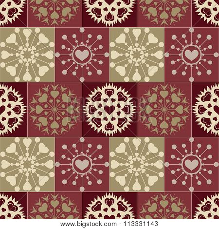 Christmas seamless pattern of heart snowflakes. New Year, Valentine, birthday texture. Brown, vinous