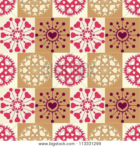 Christmas seamless pattern of heart snowflakes. New Year, Valentine, birthday texture. Gold, magenta