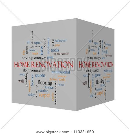 Home Renovation 3D Cube Word Cloud Concept