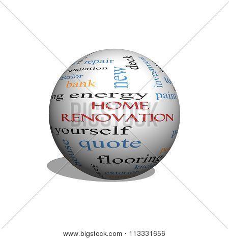 Home Renovation 3D Sphere Word Cloud Concept