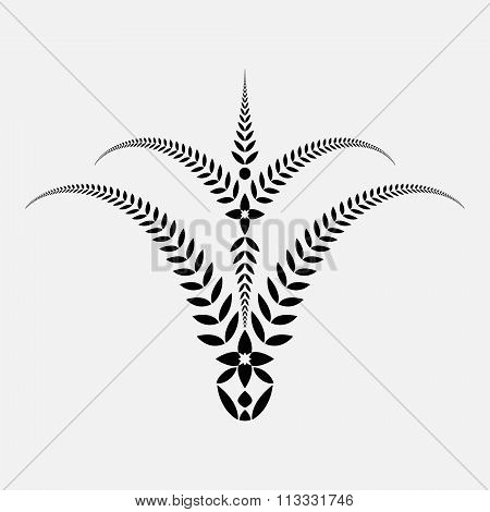 Laurel wreath tattoo. Bowl view ornament with crosses. Victory, peace, glory, summit symbol. Black s