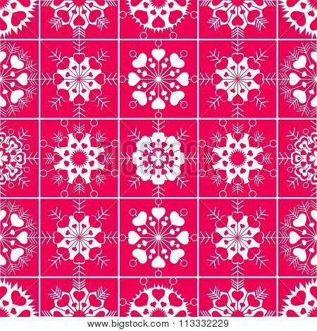 Heart snowflake seamless pattern. Christmas, Valentine, birthday, winter texture. White ornament on