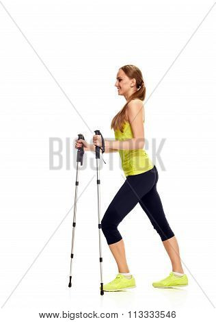 Nordic walking woman in profile