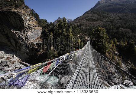 Metal hanging suspension bridge, Nepal