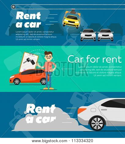 Rent a car banner. Car for rent banner. Business growth. Car loan banner. Rent a car concept. Car hire banner. Rental car. Car leasing. Rent a car infographics. Cars sale. Key car. Car business concept. Rental service.