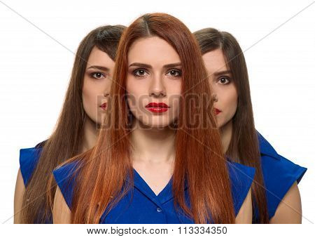 three women faces. triplets sisters