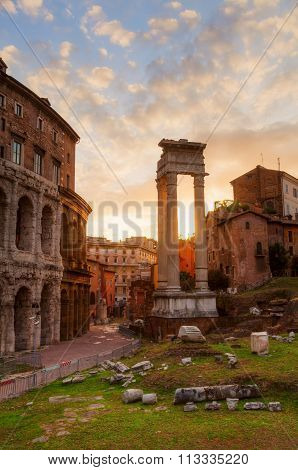at the ancient Marcellus Theater in Rome, Italy, at sunset
